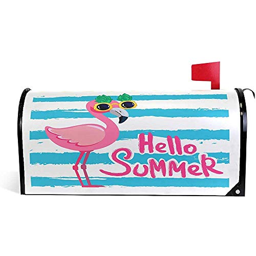 Cute Pink Flamingo Gafas de sol Blue Stripes Summer Magnetic Mailbox Cover Mailbox Wrap Post Cover Makeover 21x18 in
