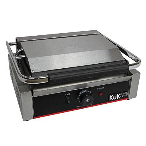 KuKoo - Piastra per Panini Professionale con Griglia Rigata, 2200W, 50-300°C, Acciaio Inox e Griglia in Ghisa per Hamburger, Sandwich con Spazzola Gratis