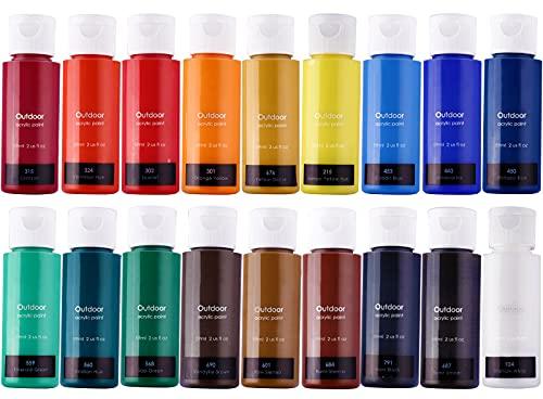 Acrylic Paint Set of 18 Colors (Bottled 59ml/2 ounces)Art...
