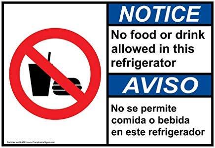 Wendana Notice Geen eten of drinken toegestaan In deze koelkast Engels + Spaans Ansi Veiligheidsbord, Aluminium, Metalen waarschuwingsborden, Privébord, Kennisbord, 8