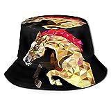 Junkai 多角形 馬 バケットハット 男女兼用帽子 UV 翼幅広 紫外線対策 日よけ 小顔効果