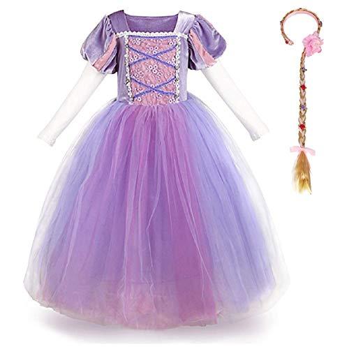 Disfraz de Princesa Rapunzel de Sofa para nias para disfraz,Halloween,Navidad,cumpleao 4-5s,maxi,vestidos hinchados,carnaval,noche,largo hasta el suelo para baile de graduacin,sesin de fotos