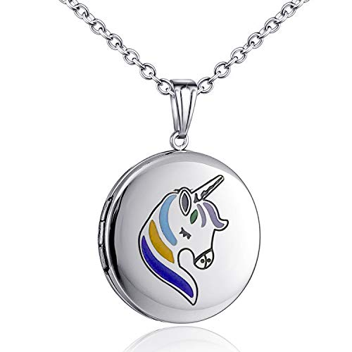 MUERDOU Unicorn Gifts for Girls Locket Necklace That Holds Pictures Heart Shaped Photo Memory Locket Pendant Necklaces