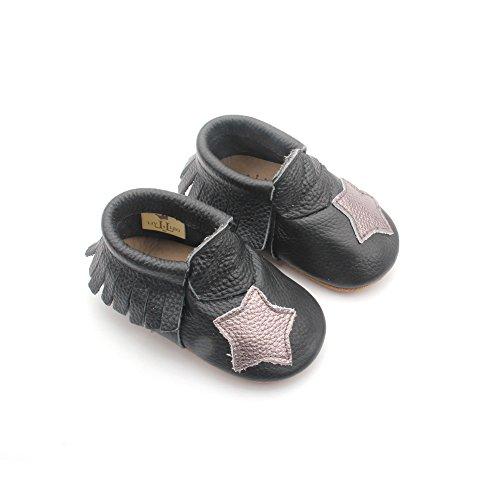 Liv & Leo Mary Jane Krabbelschuhe Moccasins Babyschuhe Designer Markenqualität aus U.S.A - Star Kollektion (12-18 Monate, Black)
