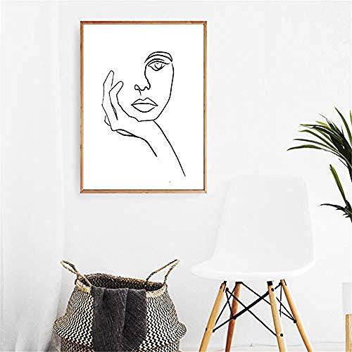 Diahitf Der Denker Print Picasso Strichzeichnung Modern Poster minimalistischen Gesicht Kunst Skizze schwarz weiß Home Wall Art Decor Leinwand Gemälde Schlafzimmer Dekor 40X60CM