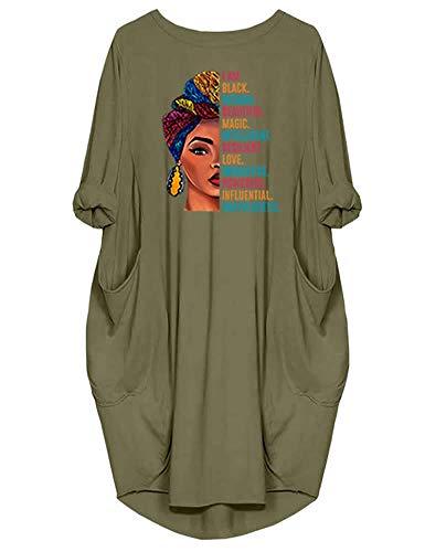 Peceony Black Magic Robe d飯ntract饠Tunique ࠍanches Longues pour Femmes,XXL,Vert-Vert