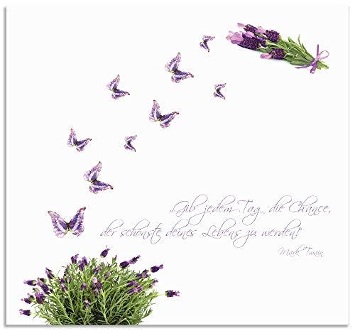 Artland Spritzschutz Küche aus Alu für Herd Spüle 70x65 cm Küchenrückwand mit Motiv Spruch Schmetterlinge Lavendel Landhaus Hell Weiß Lila J6DH