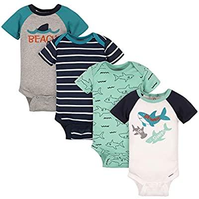 Gerber Baby Boys' 4-Pack Short Sleeve Onesies Bodysuits