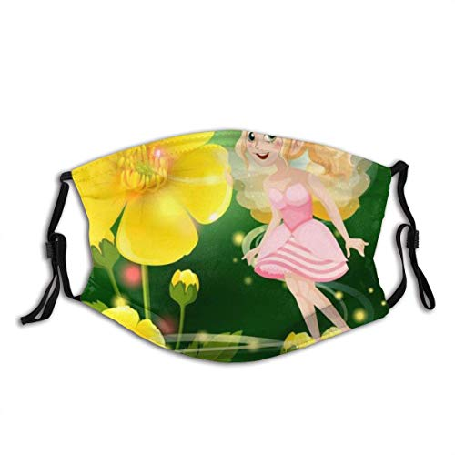 Masks,Face Cover Cute Fairy in Pink Dress Flying in Flower Garden Balaclava Unisex Reusable Windproof Anti-Dust Mouth Bandanas Outdoor Camping Motorcycle Running Neck Gaiter with 2 Filters