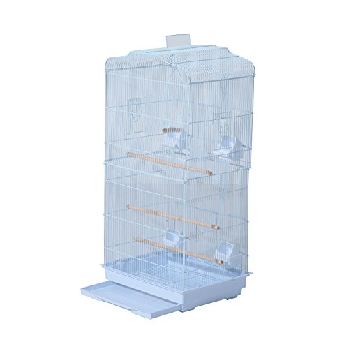 PawHut 36' Bird Cage Macaw Play House Cockatoo Parrot Finch Flight Cage 2 Doors Perch 4 Feeder Pet Supplies White