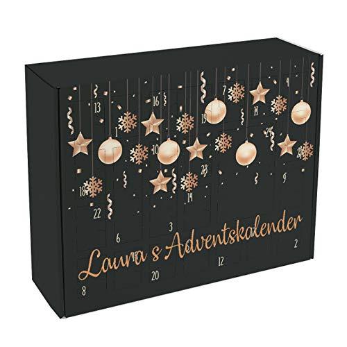 Herz & Heim® Adventskalender zum Befüllen mit Wunschtext Bedruckt - Motiv: Christbaumkugeln und Weihnachtssterne