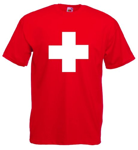 World-of-Shirt Herren T-Shirt Suisse/Schweiz Kreuz Trikot|XL