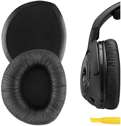 Geekria Comfort Velour Replacement Ear Pads for Sennheiser RS160, HDR160, RS170, HDR170, RS175, RS180, RS185, RS195 Headphones Earpads, Headset Ear Cushion Repair Parts (Black)