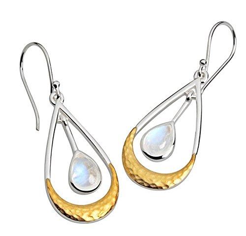 Collection Inner Light Mondschaukel mit Mondstein | Ohrring-Paar | teilvergoldet | handgearbeiteter 925 Silberschmuck für Damen o. Herren | Geschenk…
