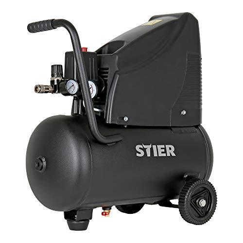 STIER Kompressor MKT 200-8-6 für Druckluft-Werkzeug, 1200 W, 8 bar, 6 Liter Tank, 10 kg, mit Abschaltautomatik, Werkstattkompressor, ölfreiem Luftverdichter