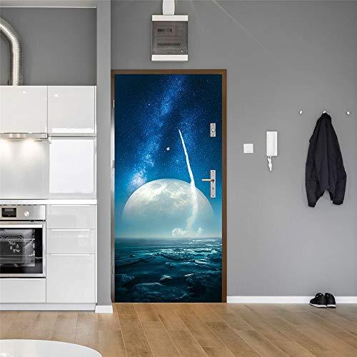 DFKJ Pegatinas de Puerta Creativas Pegatinas de decoración del hogar Pegatinas de PVC decoración de la habitación DIY Mural Impermeable A4 77x200cm