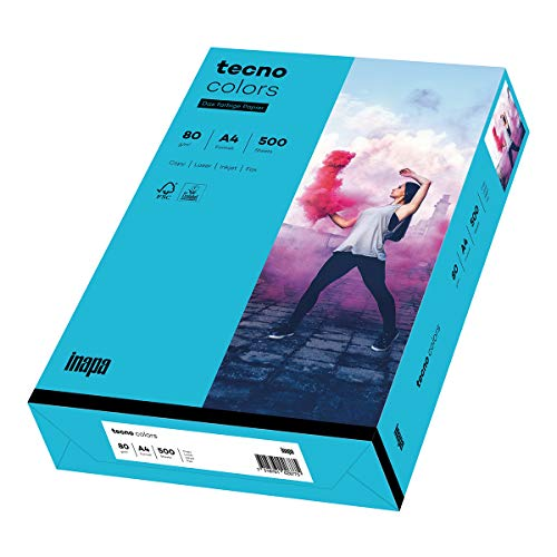 inapa farbiges Kopierpapier, buntes Papier tecno Colors: 80 g/m², A4, 500 Blatt, blau, 2100011390_R, 80g / m²
