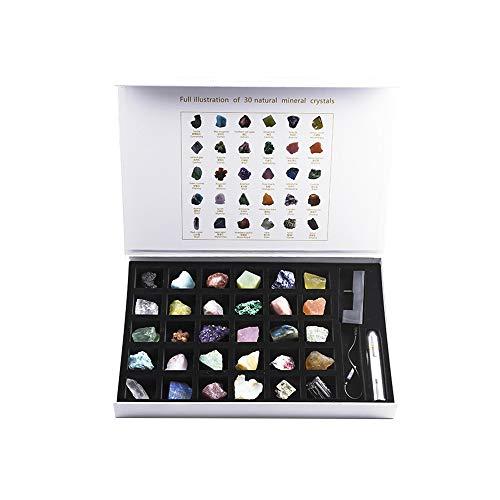 XQK 30 Piezas Conjunto Minerales De Gemas De Cristal Natural, Kit De Colección De Piedras Preciosas, Decoración De ágata Esmeralda En Bruto, para Regalos, Enseñanza, Ciencia Popular, Adornos