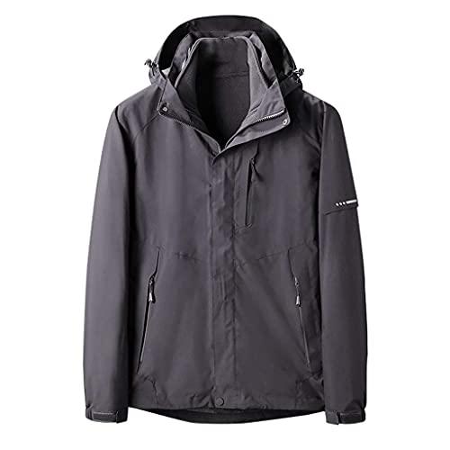 Men's Hoodie Coat Fashion Waterproof Detachable Liner Breathable Sport Outdoor Warm Two-Piece Jacket
