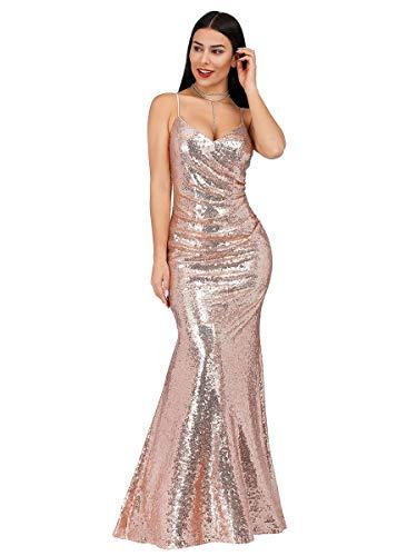 Ever-Pretty Vestido Sirena de Fiesta de Noche Largo para Mujer con Lentejuelas Cuello en V Oro Rosado 46