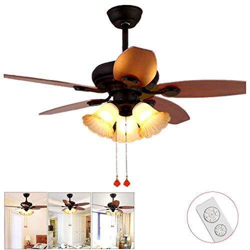 Ventilador de techo Luz Decorativa Lámpara De Araña De 42 Pulgadas con Ventilador Eléctrico En La Sala De Estar Luz Control Remoto Mudo para Dormitorio A+