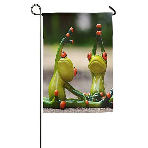 ONGH Lustige Frosch-Do Yoga Blumengarten-Yard-Flagge Banner für die Außen Haus Flower- am besten für Partei Yard and Home Decor Außen