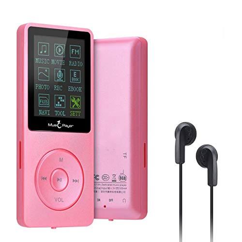 Lychee Reproductor MP3 70 Horas de Reproducción de Música MP3 sin Pérdida de Sonido Hi-Fi Entrada 8 GB de Música MP4 (soporta hasta 64 GB) (Rojo)