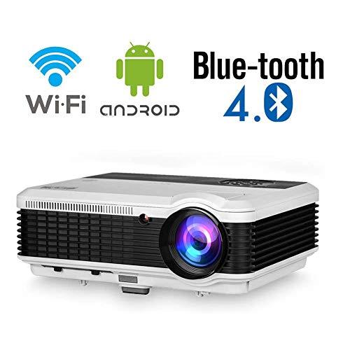 GRJKZYAM Proyector 4600 Lúmen Mini Proyector Portátil LCD Proyector de Cine en Casa 50000 Horas Soporte de Pantalla 1080P HDMI/VGA/USB/SD/AV