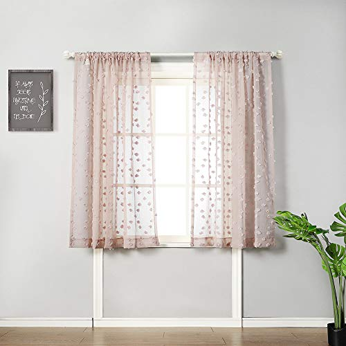 "MYSKY HOME Cute Pom Pom Sheer Curtains for Girls Room Rod Pocket Voile Sheer Curtains for Bedroom (2 Panels, 54"" x 63"", Dusty Pink)"
