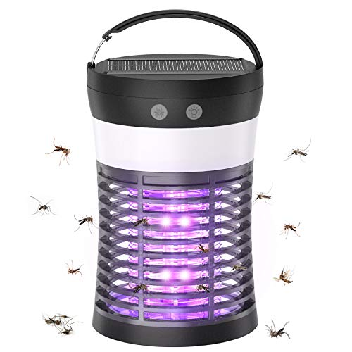 Lampe Anti Moustique, Lampe Solaire Anti-Mouches, Lampe Solaire de Camping et piège à Moustique UV, étanche IP65, Anti-Moustique Portable pour l'intérieur et l'extérieur