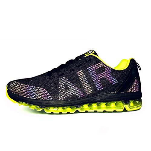 Axcone Homme Femme Air Running Baskets Chaussures Outdoor Running Gym Fitness Sport Sneakers Style Respirante,Noir/Jaune,42 EU