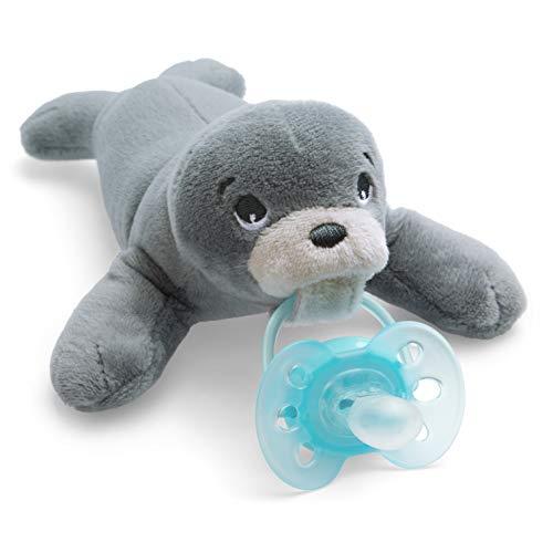 Philips Avent Peluche con chupete SCF348/14 - Peluche de foca con chupete ultra soft, sin BPA, 0-6 meses