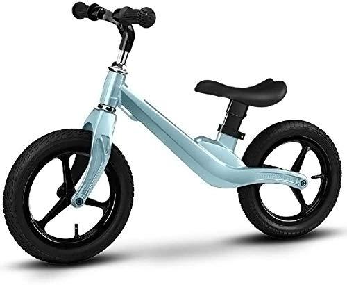 DWXN Kinderbalans Fiets Running Walking Training Bike voor Jongens Meisjes, Verstelbare Zithoogte met Schokabsorptie Rubber Banden Blauw
