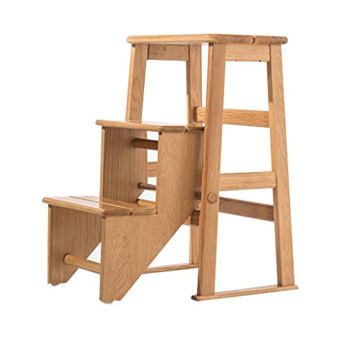 Tritthocker Klappstufen Hockerleiter Holz Home Massivholz Mobile Treppe Hocker, Dual-Use-Stühle, Drei-Stufen-Leiter