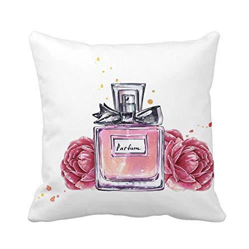 Not Applicable Funda de Almohada, Frasco de Perfume Vintage Rosado y Flores...