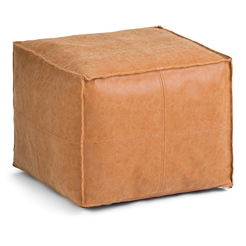 Simpli Home Brody Transitional Square Pouf in Distressed Brown Faux Leather