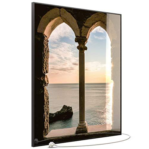 STEINFELD Heizsysteme® Glas Bild Infrarot-Heizpaneel Flach Heizkörper inklusive TS 20 Thermostat   Made in Germany   Motive 016H Fenster (1200 Watt, schwarz)