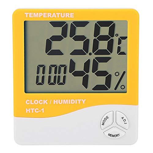 Akozon Medidor de Temperatura y Humedad HTC-1-10 ° C ~ + 70 ° C (-14 ° F ~ + 158 ° F) 10% ~ 90% RH Higrómetro Termómetro Digital (Naranja)