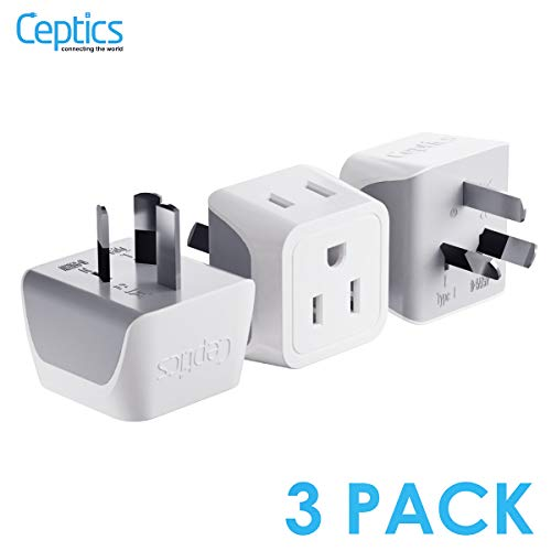 Australia, New Zealand, China Travel Adapter Plug by Ceptics with Dual USA Input - Type I (3 Pack) - Ultra Compact - Safe Grounded Perfect for Cell Phones, Laptops, Camera Chargers and More (CT-16)