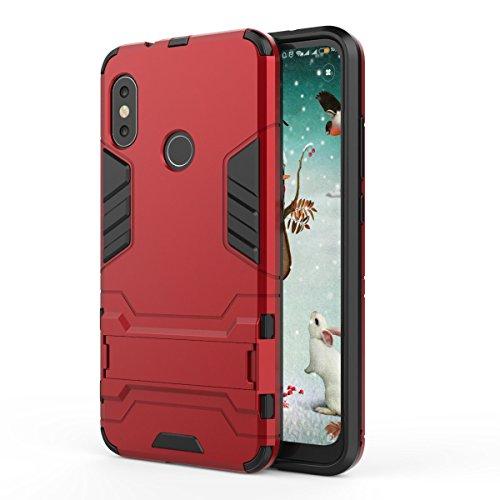 TenYll Xiaomi Mi A2 Lite Hülle, Doppelschicht-Design Stoßfest Hybrid Robuste TPU+PC Schutzhülle Mit Standfunktion,Hülle für Xiaomi Mi A2 Lite -rot