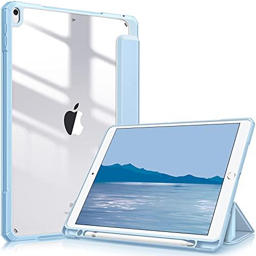 Fintie Hybrid Hülle Kompatibel mit iPad Air 2019 (3. Generation) / iPad Pro 10.5 2017 - [Eingebauter Stifthalter] Stoßfeste Abdeckung mit Transparent Klar Hartschalen Rückseite Schutzhülle, Himmelblau