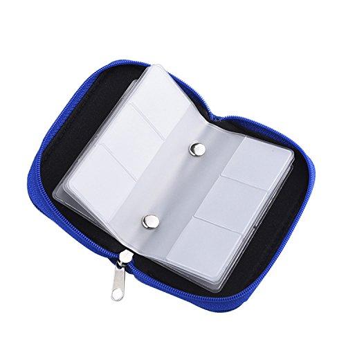 Mudder Speicherkarten Aufbewahrung Tasche Schutzhüllen mit Reißverschluss 22 Schlitze für SD SDHC MMC CF Micro SD Karten (Blau)