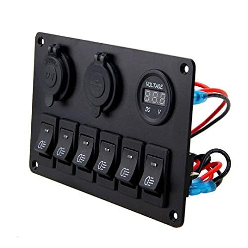 Interruptor de automóvil 12V 6 Botones Impermeable Coche Coche Barco marino LED Mocker Interruptor de Rocker Interruptor Interruptores Ajuste para el panel de control del interruptor de balancín del b