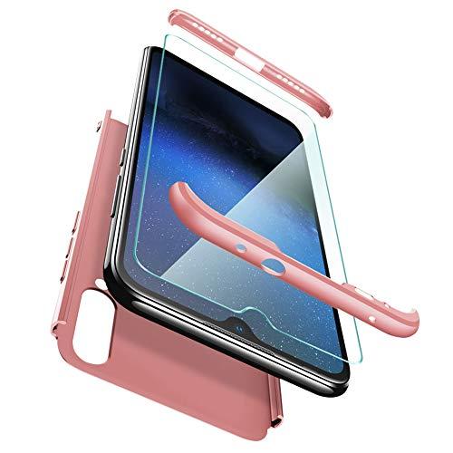 ivencase Cover Xiaomi Mi A3 + Vetro Temperato, Premio Ibrido Rugged 3 in 1 Duro AntiGraffio PC Macchia Custodia Protettiva 360 Gradi Cover per Xiaomi Mi A3 -Oro Rosa