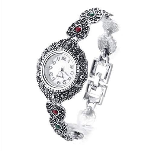 XFYS Pulsera de Plata Antigua para niñas, Reloj de corazón de Cristal Rojo para Mujer, Accesorios de Mano para Mujer, Reloj para Mujer