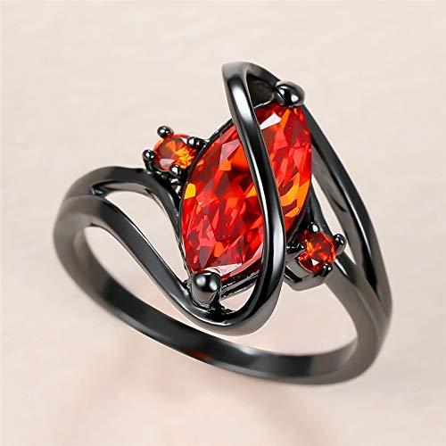 Anillos de servilleta navideña, servilletero, moderno, moderno, vintage, anillo de piedra de cristal rojo, clásico de oro negro, anillo de boda para mujer, anillo de compromiso con circonita