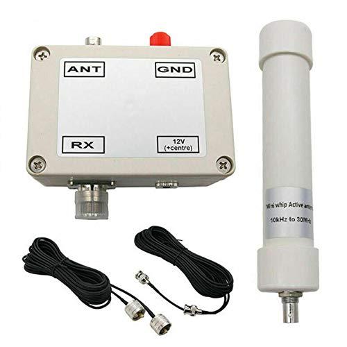 POHOVE Aktive Antenne montiert in Box HF LF VLF, Mini Whip Aktiv Antenne HF LF VHF SDR RX Antenne Aktiv Antenne Fahrzeug Kurzwelle Mini Peitsche 10KHz-30MHz 12-15V mit Tragbarem Kabel BNC