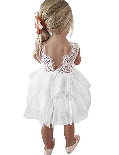 NNJXD Robe de Fête Tutu Tulle Fleur Dos Nu A-Ligne en Dentelle pour Petites Filles Taille (100) 2-3...