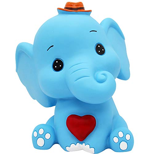 H&W Cartoon Elephant Coin Bank(B), Can Store 900 Coins,Money Box, Piggy Bank, Best Gift Kids, Girls, Dark Blue (WK3-D7)