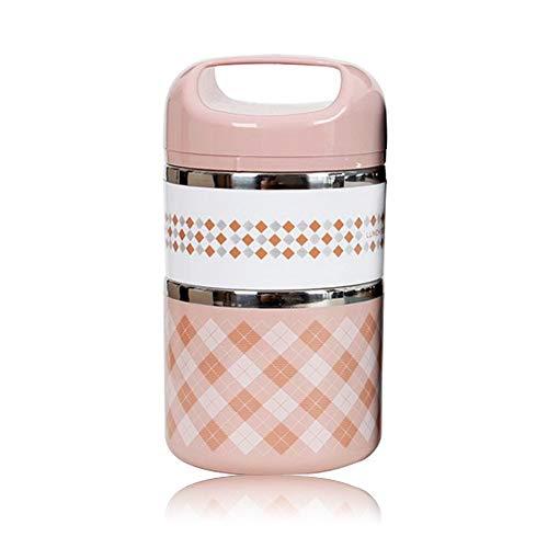 N/D Yisika 2 Couches boîte à Lunch en Acier Inoxydable Portable Thermique boîtes à bento Lunch...